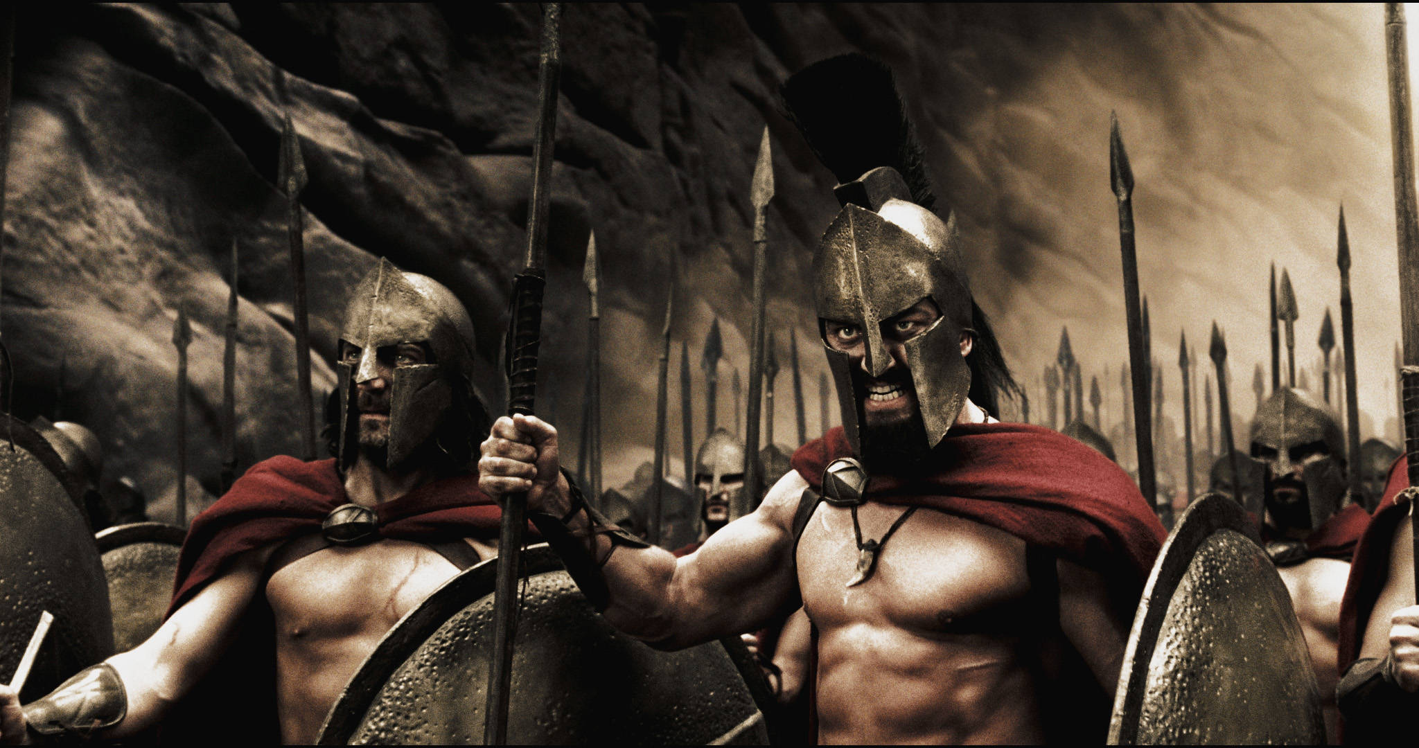 """Captain (VINCENT REGAN), Leonidas (GERARD BUTLER) and the Spartans stand ready to halt the advance of the Persian army in Warner Bros. Pictures', Legendary Pictures' and Virtual Studios' action drama """"300,"""" distributed by Warner Bros. Pictures. PHOTOGRAPHS TO BE USED SOLELY FOR ADVERTISING, PROMOTION, PUBLICITY OR REVIEWS OF THIS SPECIFIC MOTION PICTURE AND TO REMAIN THE PROPERTY OF THE STUDIO. NOT FOR SALE OR REDISTRIBUTION"""